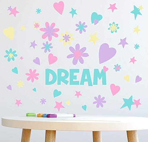 Create-A-Mural Dream Word Flowers, Hearts, Stars Girls Wall Decals [136] Piece Pastel Kids Room Decor Stickers, Nursery,Toddler, Teen Peel & Stick Kids Room Decor