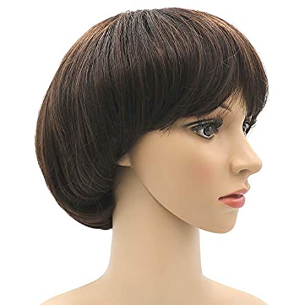 Afro Girls Cosplay Mushroom Wig Short Haircut With...