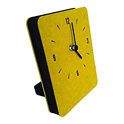 thehaki Multipurpose Felt Table & Wall Clock Non-Ticking Silent Quartz Movement Desk Clock (Yellow Green) - GREAT HOME DECOR - It's made out of thick felt fabric which has some texture and fun. This cute desk and wall clock is a piece of art. MULTIPURPOSE - Can be table standing and wall mounted. You can hang it on the wall just with double-sided adhesive tape, as well as a removable table stand built in. SILENT - Perfect bedroom or study room clock as it has non ticking sound. - clocks, bedroom-decor, bedroom - 41EMieXuRwL. SS400  -