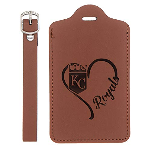 (Mlb Kansas City Royals Heart Engraved Synthetic Leather Luggage Tag (Chestnut Brown) - United States Standard - Handcrafted By Mastercraftsmen - For Any Type Of Luggage)