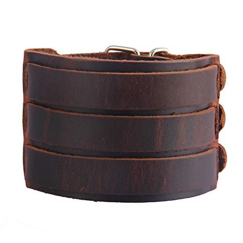 Jenia Punk Leather Cuff Bracelet Adjustable Straps Wrap Bracelets Arm Armor Cuff Gothic Leather Wristbands for Men, Boy, -