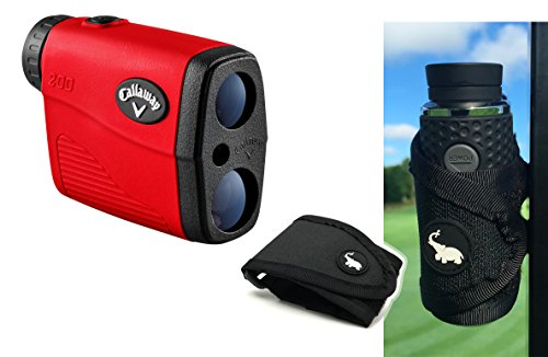 Callaway 200 (Red) Golf Rangefinder with Golf Cart Mount Bundle | Includes Compact Golf Laser Rangefinder, Callaway Carrying Case, Magnetic Golf Cart Mount (Black) and One (1) CR2 Battery