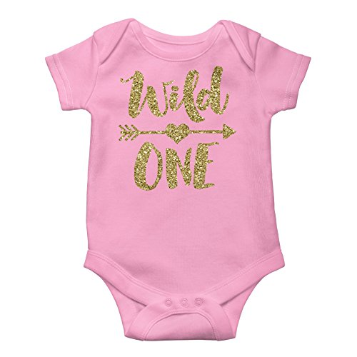(Olive Loves Apple Wild One Gold Glitter Girls 1st Birthday Bodysuit First Birthday Outfit Girl,Pink Bodysuit,12 18 short sleeve )