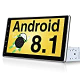 PUMPKIN 10.1 Inch Single Din Android 8.1 Car Stereo with GPS, WiFi, Support 128GB USB, Backup Camera, Android Auto, Detachable IPS Touch Screen, 1 Din 2 Din Universal