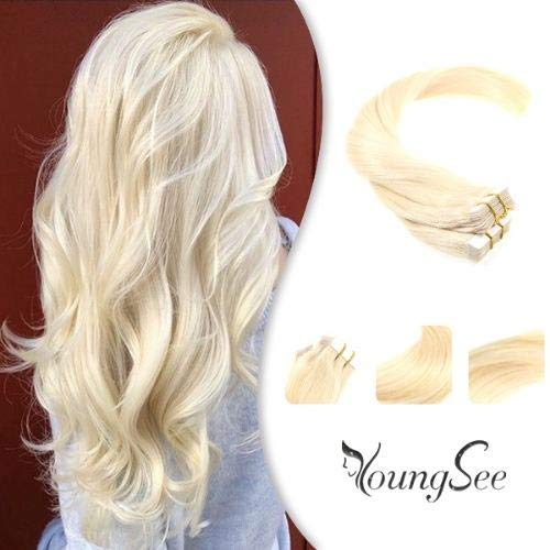 YoungSee 14' Blonde Tape in Hair Extensions Human Hair #613 Bleach Blonde Seamless Skin Weft Tape in...