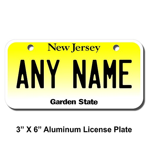 (TEAMLOGO Personalized New Jersey License Plate - Sizes for Kid's Bikes, Cars, Trucks, Cart, Key Rings Version 1 (3 X 6 Aluminum License Plate))