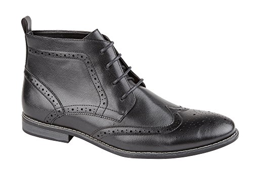 Classique pour Homme Bertie Richelieu à lacets cheville bottes NEW. Noir wIgJAnPU7q