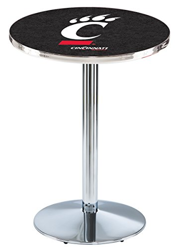 (Holland Bar Stool L214C42 University of Cincinnati Officially Licensed Pub Table, Chrome, 28