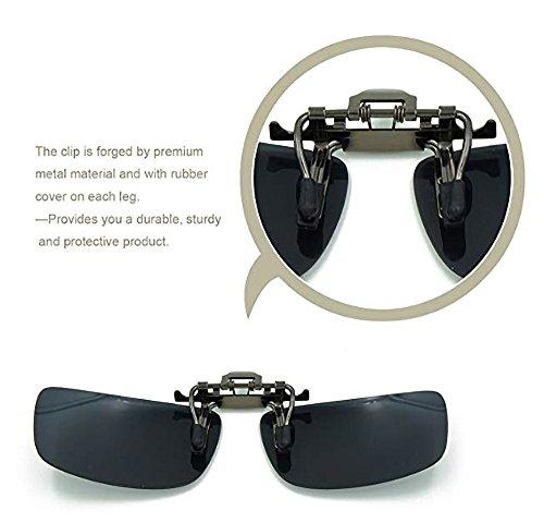 para 2 para del y polarizadas y Unisex Soporte amp;Amarillo Negro Sol Negro de Clip para más Visera Sol Unidades Aioink amp;Amarillo polarizadas con conducción de Coche Gafas Gafas qRa68a