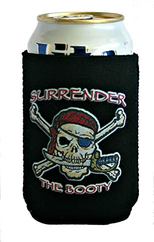 Pirate Quotes Beer Cozy ~ Surrender the Booty (Black) ~ Collapsible Neoprene Can Cooler ~ Boaters gifts, Tiki Bar Accessories, Beer Related Gifts for Dads, Boyfriends, Housewarming, Pirate -