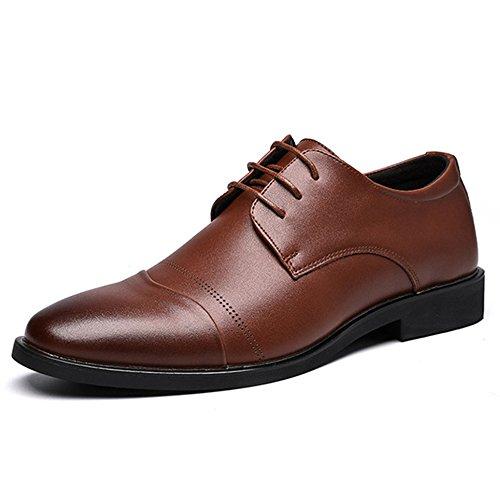 Brown Costumes Toe Chaussures Banquet Les Pour Hommes En Affaires Véritable Derby Mariage De Messieurs Lacets Plain Bureau Cuir Yra HU6xXfX