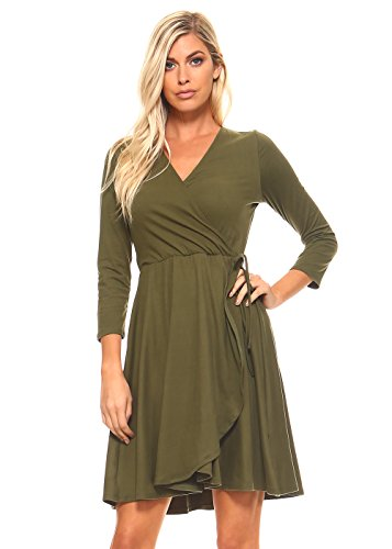 3 4 Sleeve V Neck Wrap Dress Empire Waist Dress For Women Plus Size 1X Olive (Olive Womens Dress)