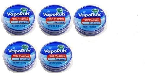 Vicks Vaporub Ointment Cream Cough Suppressant and Topical Analgesic of 0.45 Oz JAR - 5 Packs (Vicks Vapour Rub On Feet For Colds)