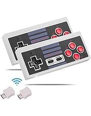 Kyerivs Manette sans Fil pour NES Mini Classic Edition, 2.4G Manette de Jeu sans Fil pour Nintendo Mini NES Classic Edition (2 pièces) … (Grey)