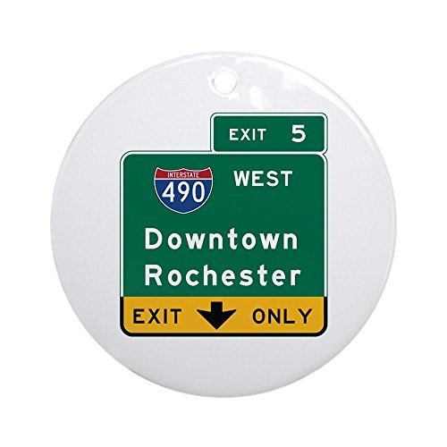 CafePress Rochester, NY Road Sign, USA Round Holiday Christmas Ornament