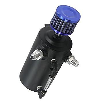 Depósito de recogida de aceite de motor de aluminio universal ALLOYWORKS de 0,5 l y filtro del respiradero: Amazon.es: Coche y moto