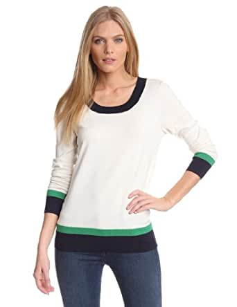 Pendleton Women's Aurora Color Block Pullover Sweater, Ivory/Midnight Navy/Green,Large