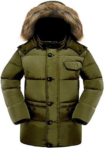 Valuker Men's Down Coat With Fur Hood 90D Parka Puffer Jacket Green-US(L) (Heavy Mens Coats Winter With Hood)