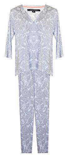 - ELLEN TRACY Step Hem Paisley 2-Piece Lounge Set/Pajamas PJ's (White with Grey Multi Paisley Print, X-Large)