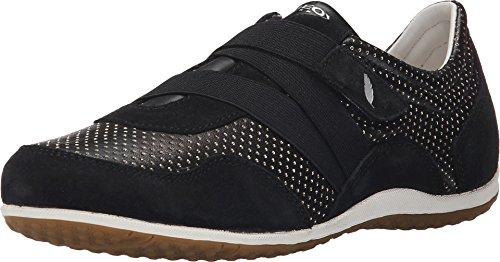 Geox Women's D Vega 19 Fashion Sneaker, Black, 40 EU/10 M US