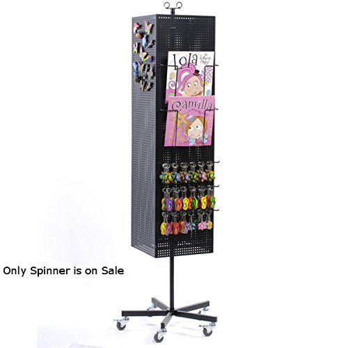 Retail Black Four-Sided Metal Pegboard Magnet Floor Spinner 13''W x 13''D x 67''H