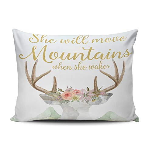 Mountain Hidden Deer - ONGING Decorative Pillows Gold and White Boho Deer Move Mountains Baby Girl Nursery Customizable Cushion Rectangle Size 16x24 Inch Throw Pillow Cover Hidden Zipper One Sided Design Printed