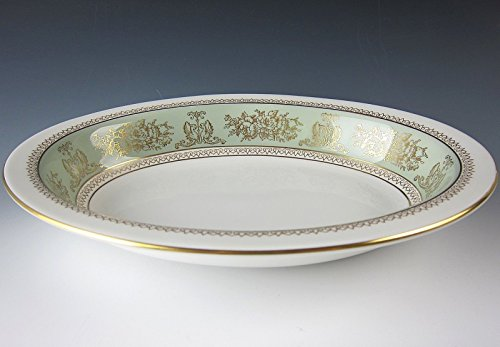 Wedgwood China COLUMBIA SAGE GREEN RIM Oval Vegtable Bowl EXCELLENT