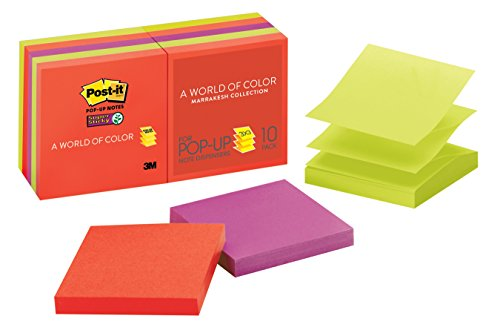 Post-it Super Sticky Pop-up Notes, 3 in x 3 in, Marrakesh Collection, 10 Pads/Pack (R330-10SSAN)