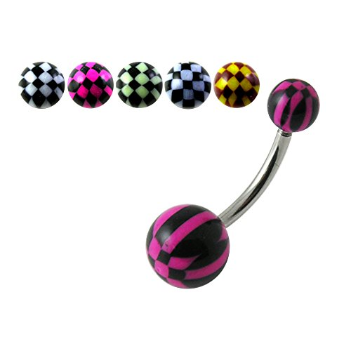 10 Pieces Set of UV Stripe Checker Ball with 14 Gauge 316L Surgical Steel Banana Belly Button Rings