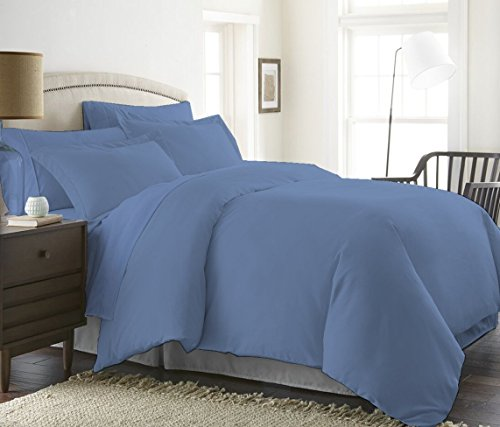 1200 Thread Count 3 Piece Duvet Cover Set ( 1 Duvet Cover & 2 Pillow Shams ) 100% Pima Cotton Luxurious & Hypoallergenic Solid By Serene Linens (Queen/Full, Mediterranean Blue)
