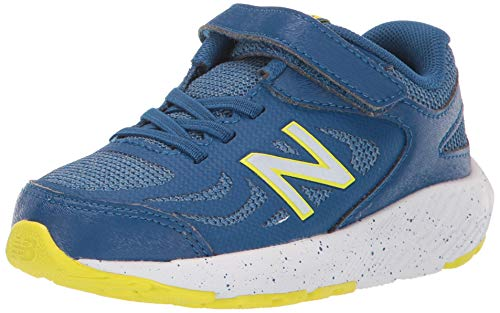New Balance Boys' 519v1 Running Shoe, Andromeda Blue/Chambray/Sulphur Yellow - Hook and Loop Closure, 6 W US Toddler