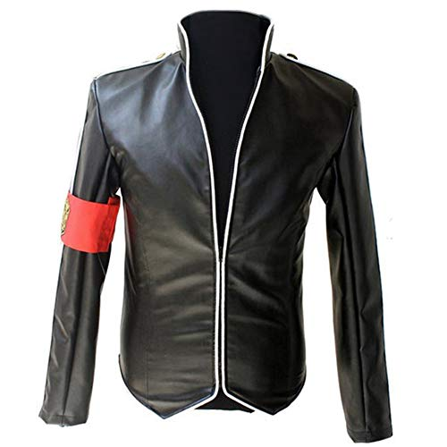 in Memory MJ Michael Jackson Leather Jacket Heal The World Handsome Punk with Red Armband England Military Jacket Outwear Collection (M)]()