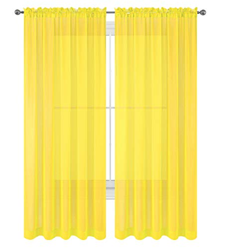 WPM WORLD PRODUCTS MART Drape/Panels/Scarves/Treatment Beautiful Sheer Voile Window Elegance Curtains Scarf for Bedroom & Kitchen Fully Stitched and Hemmed, Set of 2 Yellow (Yellow, 84