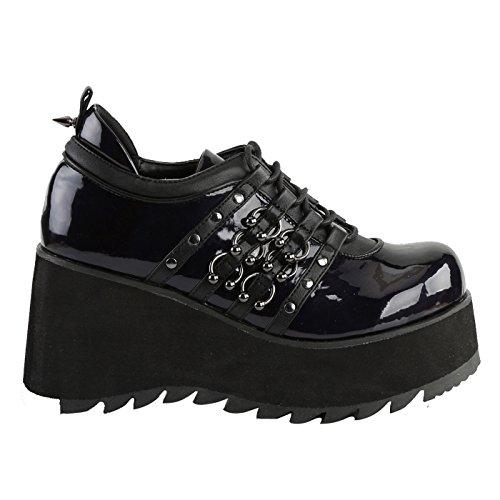 ... Demonia - Defining Alternative Footware Demonia Keilplattform  Schnürschuh und Sandale Aus Schwarzen veganen Leder SCENE- 8ccaf3a27f