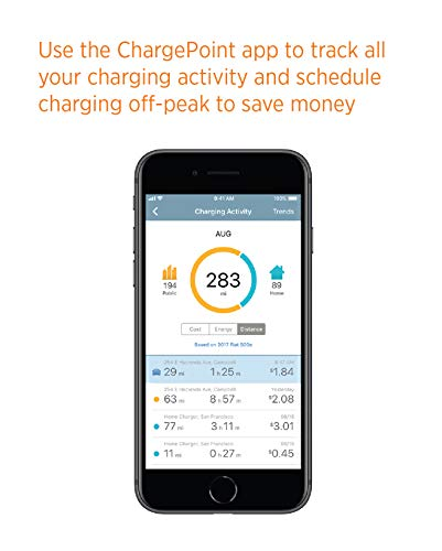 ChargePoint Home WiFi Enabled Electric Vehicle (EV) Charger - Level 2 240V EVSE, 32A Electric Car Charger for All EVs, UL Listed, ENERGY STAR Certified, Hardwired (no outlet needed), 18 Ft Cable by ChargePoint (Image #4)