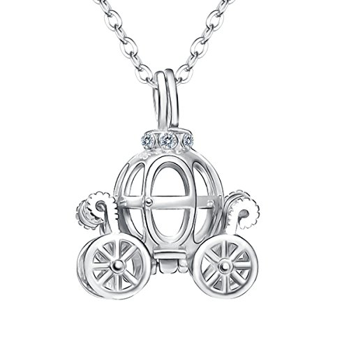 FANZE Women's 925 Sterling Silver ''Cinderella's Pumpkin Carriage'' Disney's Fairy Tale Fancy Pendant Necklace (Carriage Cinderella Disney)