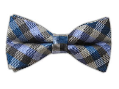 The Tie Bar 100% Woven Silk Colorful Gingham Blue and Gray Self-Tie Bow Tie
