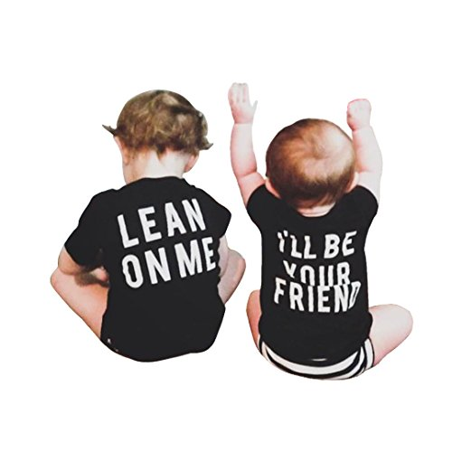 Mini Angel Infant Baby Best Friend Letter Print Short Sleeve Print Tops T-Shirt Blouse Clothes Outfit (Black#2, 110(4-5 Years)) (Blouse Angel)