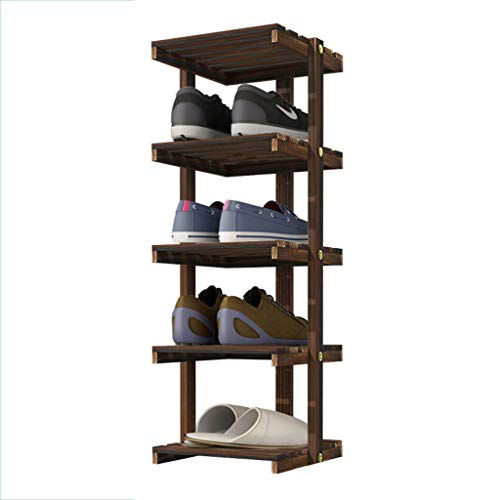 Upright 5-Tier Shoe Rack Single Row Brown Flower Rack Dust-Proof Stable Storage Pine Frame (25x26x78CM)