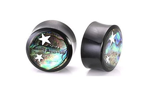 Elementals Organics Horn Plug for Ear - Ear Gauge with Abalone Inlay and Celestial Stars, 8mm, 0g, Price Per 1 Earring
