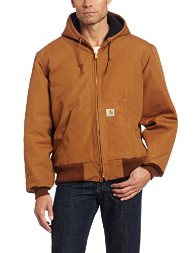 Carhartt Men's Quilted Flannel Lined Duck Active Jacket J140,Brown,XX-Large (Dc Lined Sweatshirt)