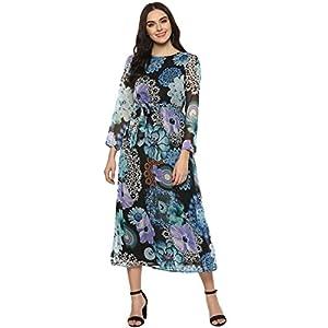 StyleStone (3279BluFloralDrs) Women's Blue Floral Printed Dress