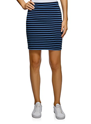 oodji Ultra Women's Basic Jersey Skirt, Blue, 8