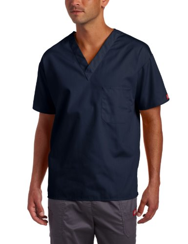 Dickies Everyday Scrubs Unisex V-Neck Solid Scrub Top,Navy,X-Large