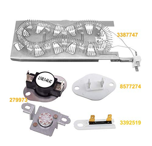 Maytag Dryer Accessories - 3387747 Dryer Heating Element & 279973 Thermal Cut-off Kit & 3392519 Dryer Thermal Fuse & 8577274 Thermostat for Whirlpool Kenmore Maytag Dryer Replacement