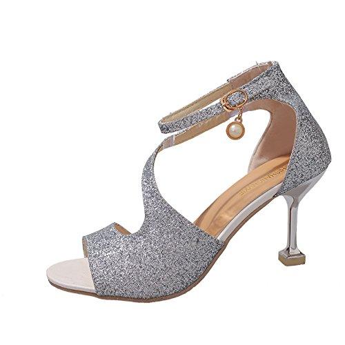 Le Des Et Silbrig Chaussures Bonnet Talon Ponage Pour De Femmes Haut rtfrqY1w