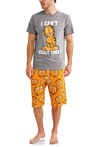 - Garfield Men's Pajama Sleep Tee and Jam Short Set, Medium Grey/Orange