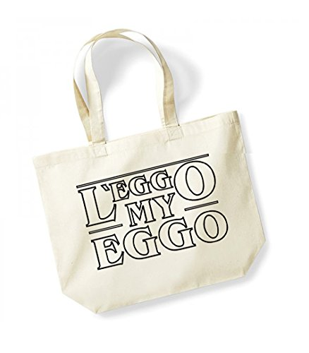 L'eggo My Eggo - Large Canvas Fun Slogan Tote Bag Natural/Black