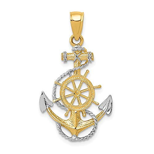 14k Yellow Gold Two Tone Nautical Anchor Ship Wheel Mariners Rope Pendant Charm Necklace Sea Shore Man Fine Jewelry Gift For Dad Mens For Him 14k Gold Nautical Anchor