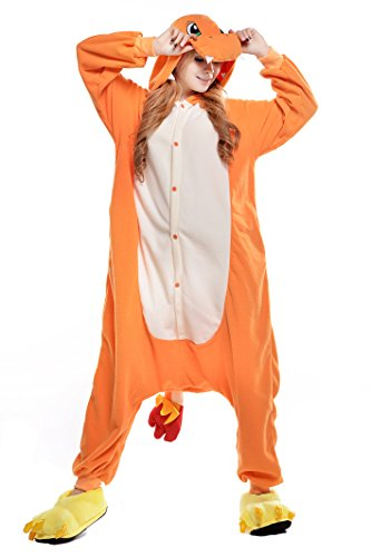 Newcosplay Adult Anime Unisex Pyjamas Halloween Onesie Costume (M, Charmander) -